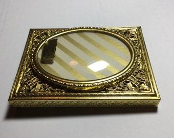 Vintage GLOBE Filigree 24KT Gold Plated Convex Glass  Picture Frame