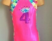 Gymnastic Dance Biketard Hot Pink Purple with Crown Applique.Toddlers Girls Gymnastics Biketard. Dancewear.  Size 2T - Girls 12