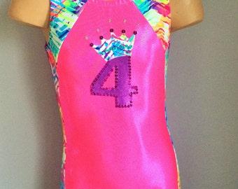 Gymnastic/Dance Leotard Hot Pink Purple with Crown Applique Size 2T - Girls 12