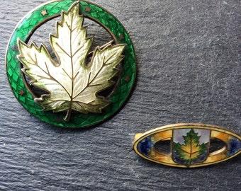 2 enamel sterling maple leaf pins Art Deco