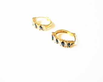 Sapphire hoop earrings: Stunning high quality bright yellow gold plated, rhinestone and costume sapphire half moon hoop stud earrings