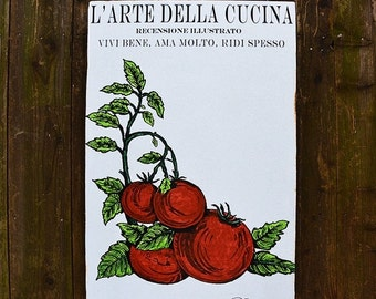 FALL SALE L'Arte Cucina Tomato - 24x36 - salvaged wood - Home Decor - RuPiper Designs Original Design