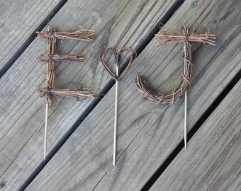 Custom Twig Letter Cake Toppers