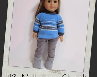 "18"" doll clothes - Bright Blue Faire Isle sweater and Soft Grey Cords fits 18"" dolls like American Girl, Maplelea"