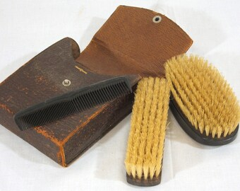 Antique Leather Mens Grooming Kit, Very Shabby, Brushes and Comb