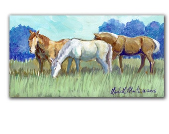Ponies Artwork  Acrylic LLMartin Original Watercolor Painting Virginia Country  Free Shipping USA