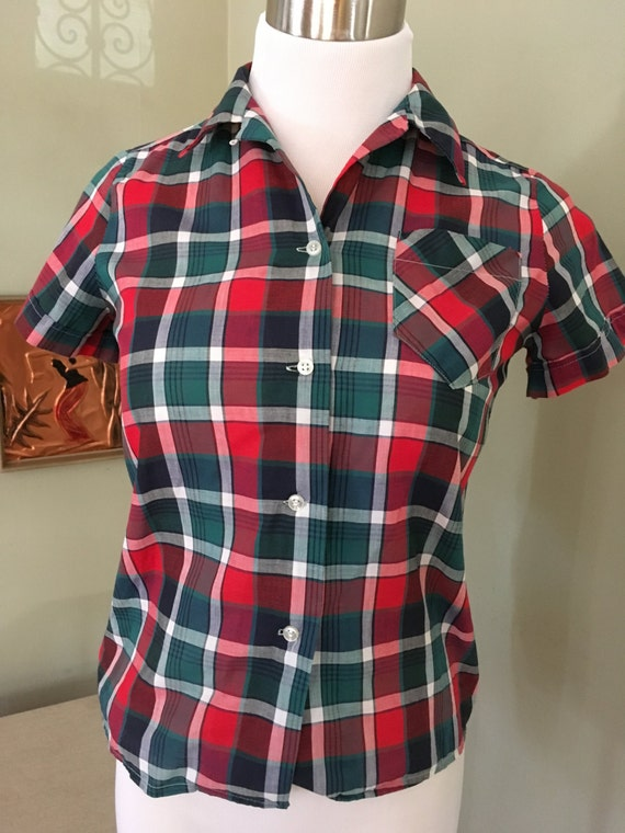 SALE 1950s Red Green and White Plaid Short Sleeve Shirt Dan River Fabric Girl Size 14 or Womens XS
