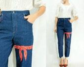 Dark Wash 70's Vintage BANDANA Print High Waisted Jeans Skinny Fit Denim Pants / Cropped Jeans Tapered Leg Mom Jeans /  Small Medium