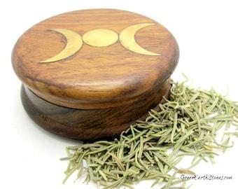 Herb Grinder, Goddess Triple Moon, Wood, Herbs, Herbology, Spells, Ointments, Healing