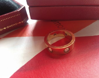 Cartier LOVE RING 6 DIAMOND #50  18K Yellow Gold  Size 50. With Cartier box