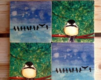 Cute Little Birds wooden coaster set
