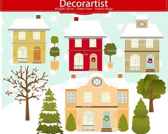 ON SALE House Clip Art Christmas Artchirstmas Tree