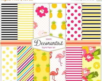"ON SALE Digital Paper Pack, no.101-Tropical Flamingo, scrapbooking digital paper 12x12"", Pink flamingo paper, pineapple paper pack, instant"