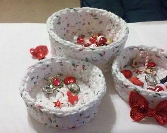 Nesting Bowls, Crochet bowls, Storage, Christmas White with Flecks