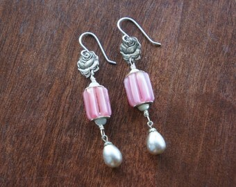 Sweet Rose and Pink Tubular Bead Antique Assemblage Earrings