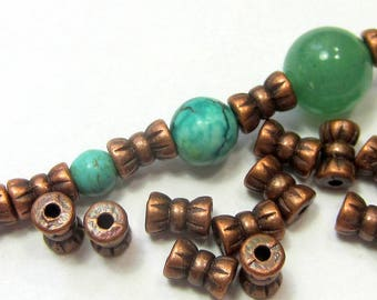 30 Antique red copper bead spacers jewelry making supplies double bead lead safe nickel safe 4mm x 6mm 413Y-(W6)