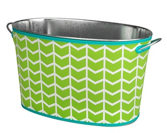 Monogrammed Lime Beverage Bucket Trimmed in Aqua; Neoprene Cover Prevents Your Bucket From Sweating;Fabulous Gift for Everyone