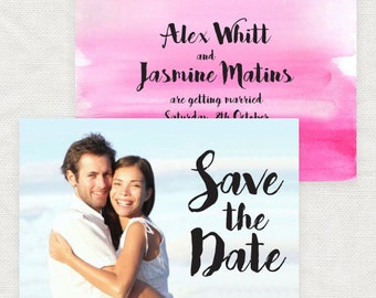 watercolour wedding photo save the date engagement announcement - diy printable file - ink effect ombre script pink customised - paper crane