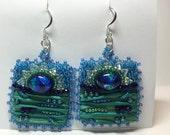 Shibori silk embroidered dichroic glass earrings