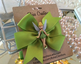 "Tinkerbell Girls Pinwheel 3"" Bow with Aligator Clip"