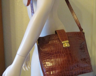vintage Saddle Tan Leather Moc Croc Tote Bag by Talbots - with Shoulder or Cross Body Strap
