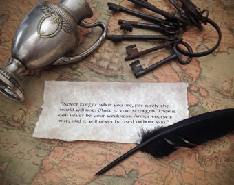 Raven's message - custom text on vintage style paper, old script, antique letter style, calligraphy quote inspired by Game of Thrones GOT