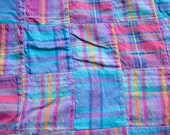 Vintage Madras Quilt Topper Tablecloth - Pink and Blue Plaid - 40 x 94