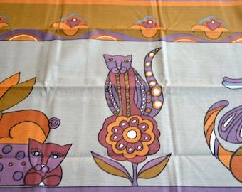 Vintage Pillowcases - Helen Webber Cats and Rabbits - King Size Pair NOS Burlington