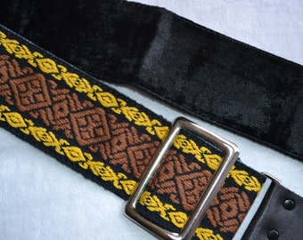 Vintage Camera Strap - Woven Brown and Yellow Design NOS
