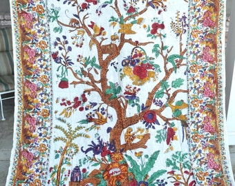 Vintage India Tablecloth Bedspread - Hand Blocked Dye Cotton - Tree of Life Birds Animals
