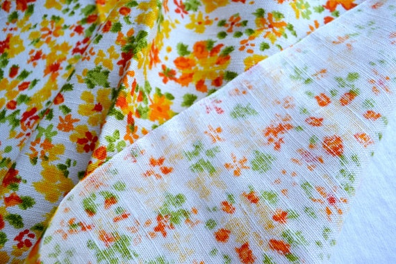 Vintage fabric orange and yellow floral linen by the for Vintage childrens fabric by the yard