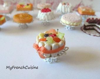 Tutti frutti charlotte on cake stand- 1/12 Handmade miniature food