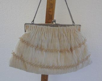 Vintage Magid Evening Bag / Off White Vintage Purse w/Pearl Beading