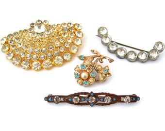 Art Deco Rhinestone Brooch Lot | Bar Pin, Pendant, Small Flower | Vintage 1930s Jewelry Destash Lot