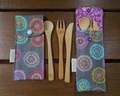 Reusable bamboo cutlery and carrying pouch  - Picnic cutlery case - Flatware pouch - Bamboo cutlery - Floral burst