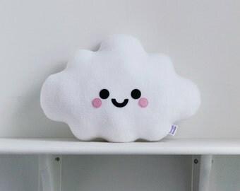 White Cloud Cushion, Happy Face Pillow, Kawaii Pillow