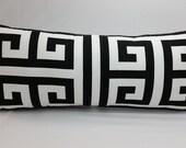"RTS Oversized print black and white greek key lumbar pillow 26"" x 11"" cotton"