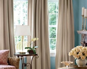 "Pair (two 50"" W panels) European linen drapes, curtain panels choose inca, linen color, coral"