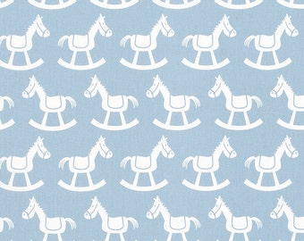 Rocking chair cushions, 2 piece, Tufted, Kids print, boys, rocking horse, weathered blue and white nursery