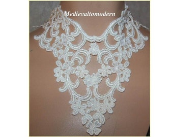 Collar Choker 6 inch WIDE White Wedding Medieval Lace Victorian Style Turn of Century Wearable Art Costume Cosplay Reenactment Theator