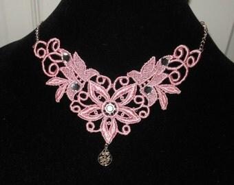 Victorian Choker, Small Baby Pink Rhinestone Soft Venise Victorian Wedding Formal Style Custom Creation by Medievaltomodern