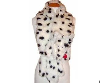 Plush Fun Fox Stole dalmation faux fur black & white spot animal print scarf