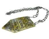 Yellow Silver Tag Necklace - Contemporary Jewellery Necklace, Tribal Unique Handmade Ceramic Art Jewellery