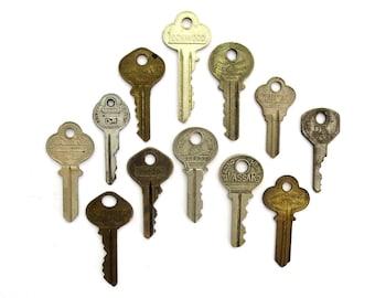 12 vintage keys, antique keys, old keys, interesting old keys, flat keys, words and writing, bulk keys, wedding, numbers, metal keys, A1 #26