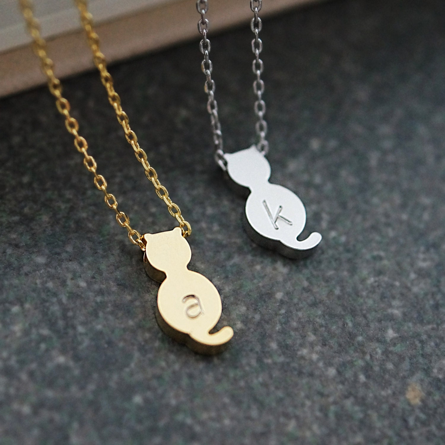 cat jewelry personalized cat necklace initial necklace dainty 1792