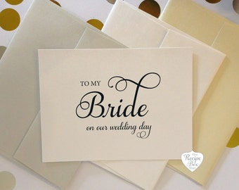 To My Bride on our wedding day, To My Groom, Wedding Card, Greeting Card, wedding day card, to my bride card, groom card - Set of 2 cards