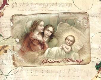 Christmas Gift Tags, Religious, Christmas Blessings, Religious Tags, Vintage Christmas