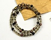 Reserve Liz, Boho Wrap.. , Smoke and Silver, Beaded Glass and Pearl Necklace, Wrap Bracelet cbwsn117