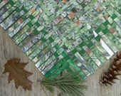 Green Watercolor Paper Weaving- Handwoven Art- Original Forest Painting- Woven Watercolor- Large Paper Art- Rustic Woodland - 18x18