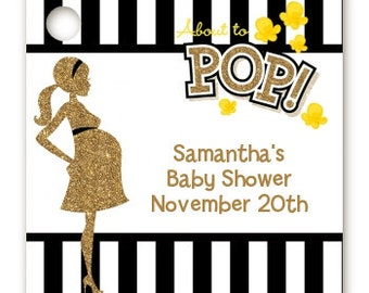 About To Pop Gold Glitter - Baby Shower Favor Tags – Set of 20 - Printed, Personalized and Hole Punched